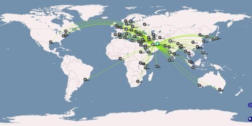 Nonstop Flights from DOH (taken from openflights.org)