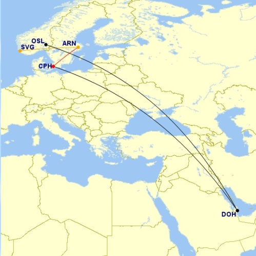 Doha to Copenhagen; Copenhagen to Stockholm; Stockholm to Stavanger; Oslo to Doha; map taken from gcmap.com