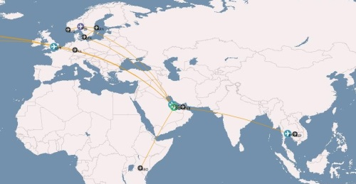 My Europe, Asia, and Africa routes courtesy of OpenFlights.org